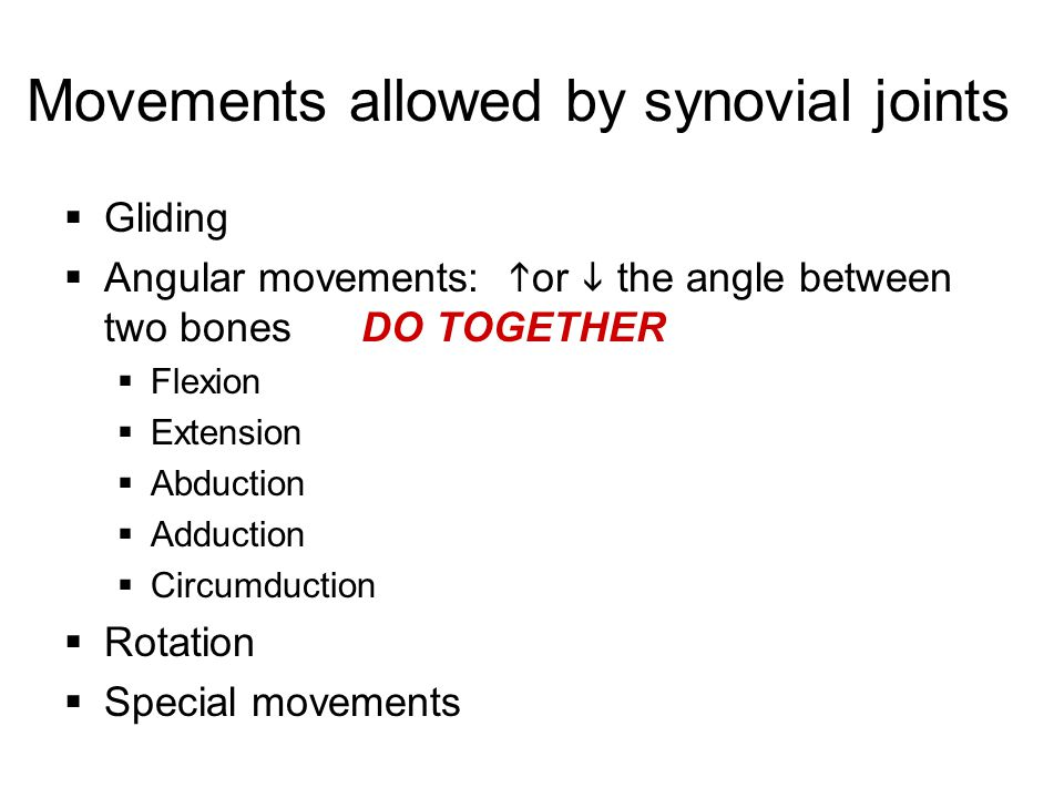 Movements allowed by synovial joints  Gliding  Angular movements:  or  the angle between two bones DO TOGETHER  Flexion  Extension  Abduction 