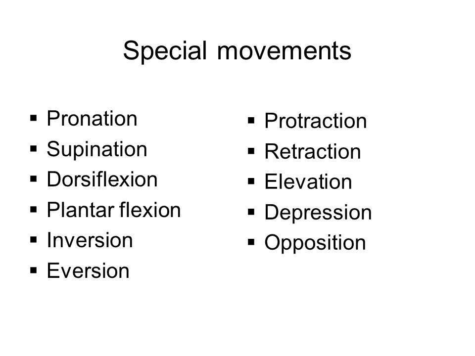 Special movements  Pronation  Supination  Dorsiflexion  Plantar flexion  Inversion  Eversion  Protraction  Retraction  Elevation  Depression