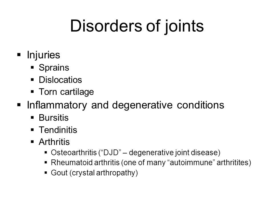 Disorders of joints  Injuries  Sprains  Dislocatios  Torn cartilage  Inflammatory and degenerative conditions  Bursitis  Tendinitis  Arthritis