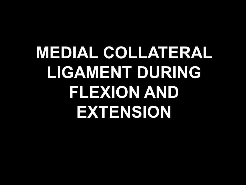 MEDIAL COLLATERAL LIGAMENT DURING FLEXION AND EXTENSION