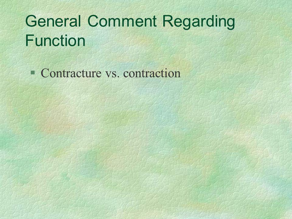General Comment Regarding Function §Contracture vs. contraction