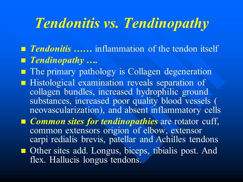 Tendonitis vs. Tendinopathy Tendonitis …… inflammation of the tendon itself Tendinopathy …. The primary pathology is Collagen degeneration Histologica