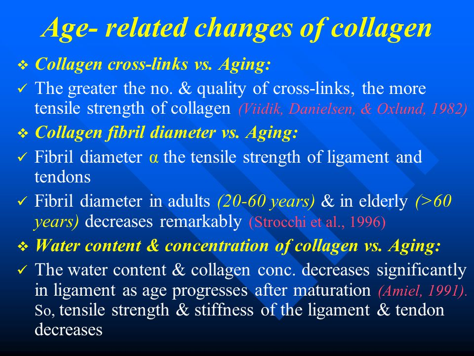Age- related changes of collagen   Collagen cross-links vs. Aging: The greater the no. & quality of cross-links, the more tensile strength of collag