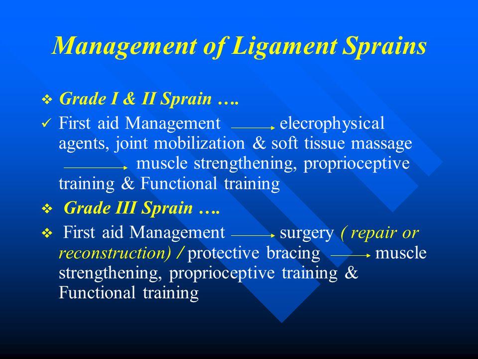 Management of Ligament Sprains   Grade I & II Sprain …. First aid Managementelecrophysical agents, joint mobilization & soft tissue massage muscle s