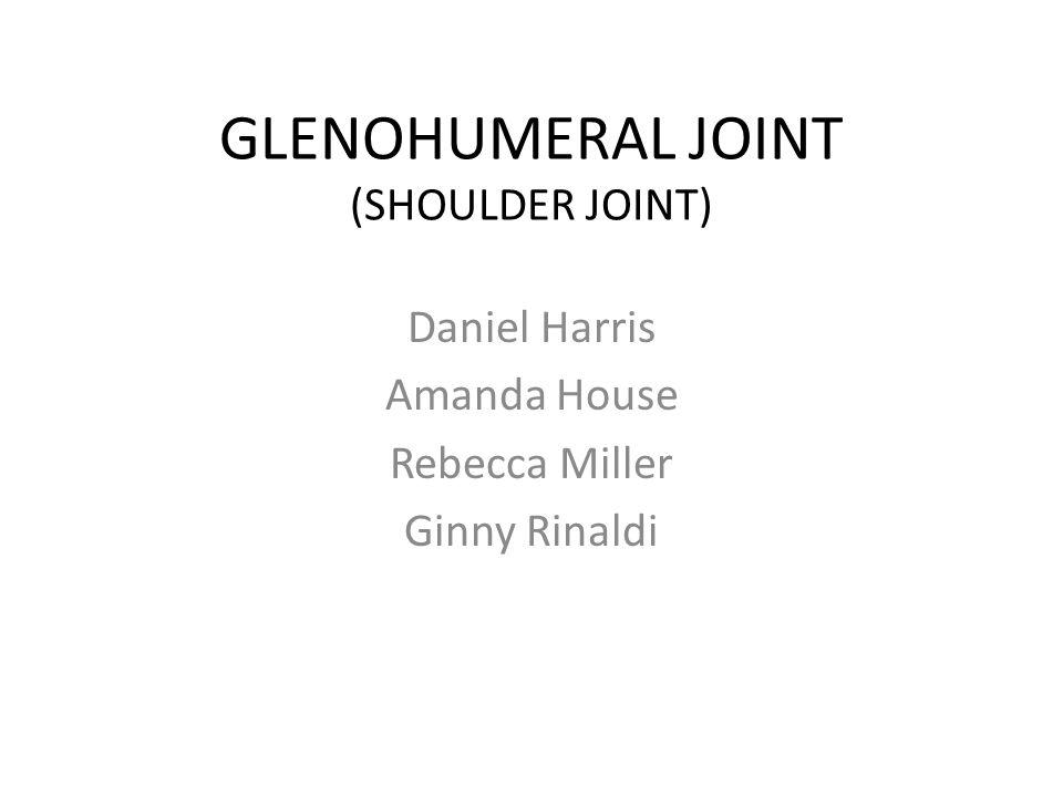 GLENOHUMERAL JOINT (SHOULDER JOINT) Daniel Harris Amanda House Rebecca Miller Ginny Rinaldi