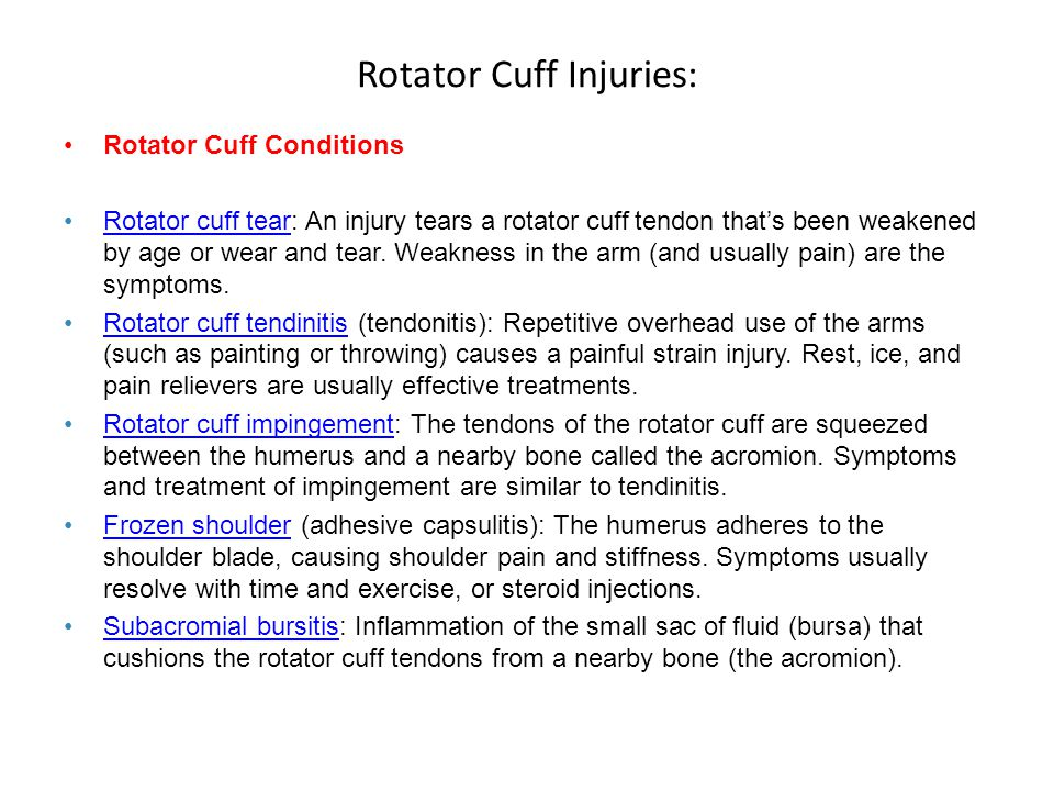 Rotator Cuff Injuries: Rotator Cuff Conditions Rotator cuff tear: An injury tears a rotator cuff tendon that's been weakened by age or wear and tear.