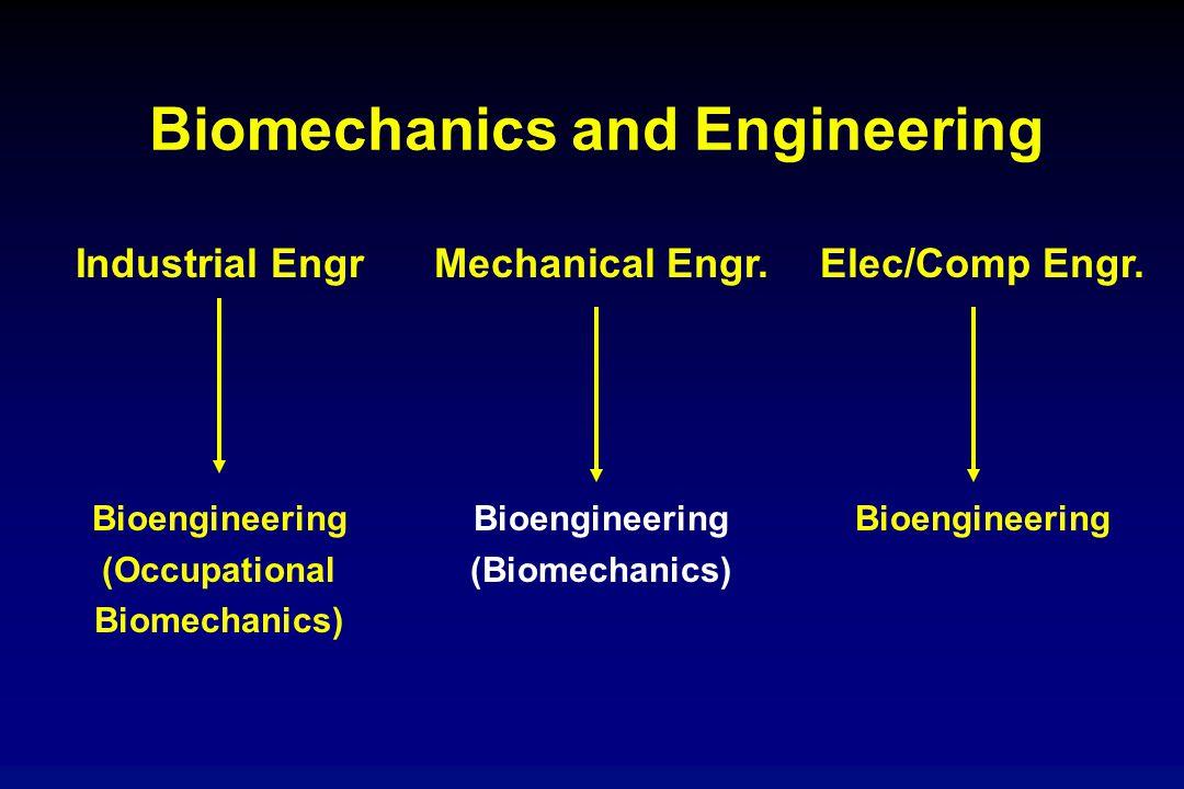 Biomechanics and Engineering Industrial Engr Bioengineering (Occupational Biomechanics) Mechanical Engr. Bioengineering (Biomechanics) Elec/Comp Engr.