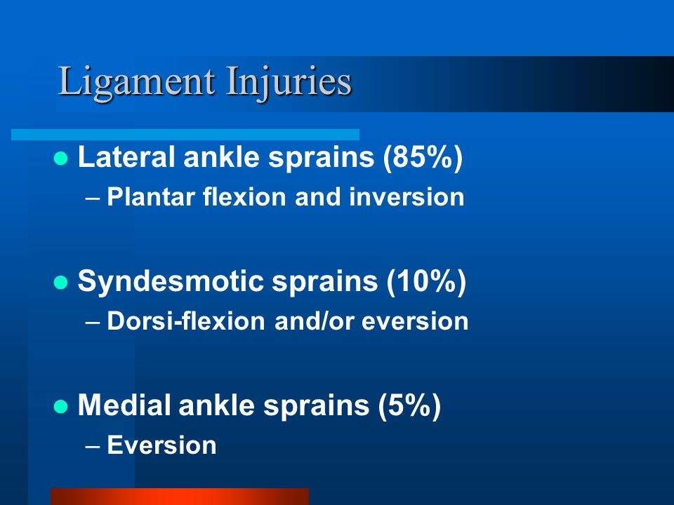 Ligament Injuries Lateral ankle sprains (85%) –Plantar flexion and inversion Syndesmotic sprains (10%) –Dorsi-flexion and/or eversion Medial ankle spr