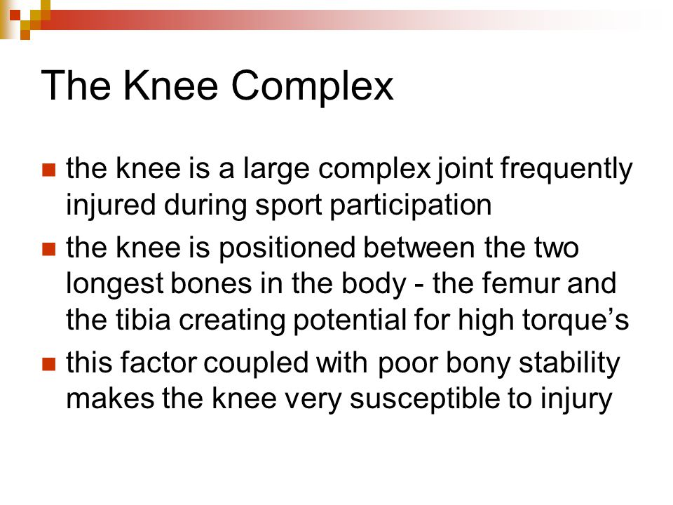 The Knee Complex the knee is a large complex joint frequently injured during sport participation the knee is positioned between the two longest bones in the body - the femur and the tibia creating potential for high torque's this factor coupled with poor bony stability makes the knee very susceptible to injury