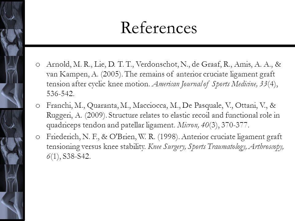 References o Arnold, M. R., Lie, D. T. T., Verdonschot, N., de Graaf, R., Amis, A.