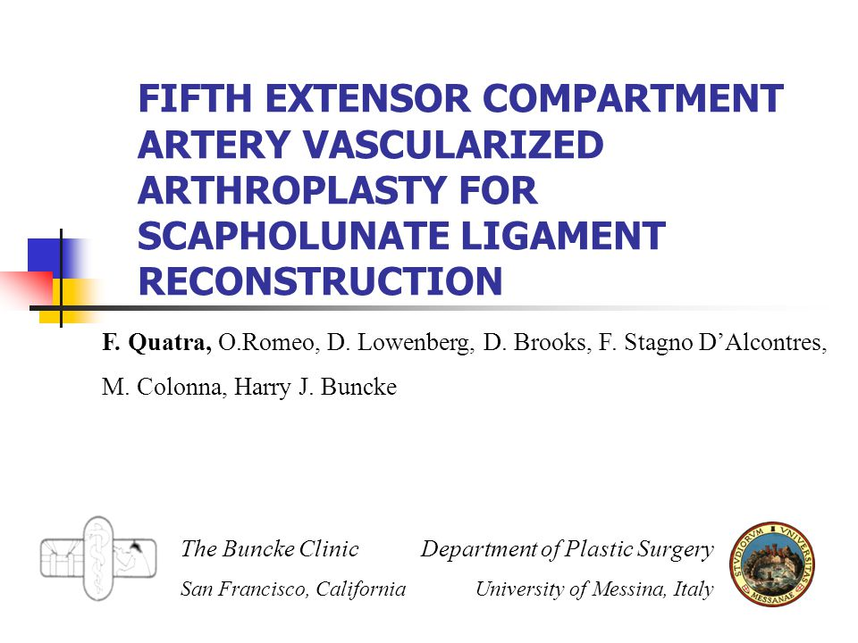 FIFTH EXTENSOR COMPARTMENT ARTERY VASCULARIZED ARTHROPLASTY FOR SCAPHOLUNATE LIGAMENT RECONSTRUCTION F.