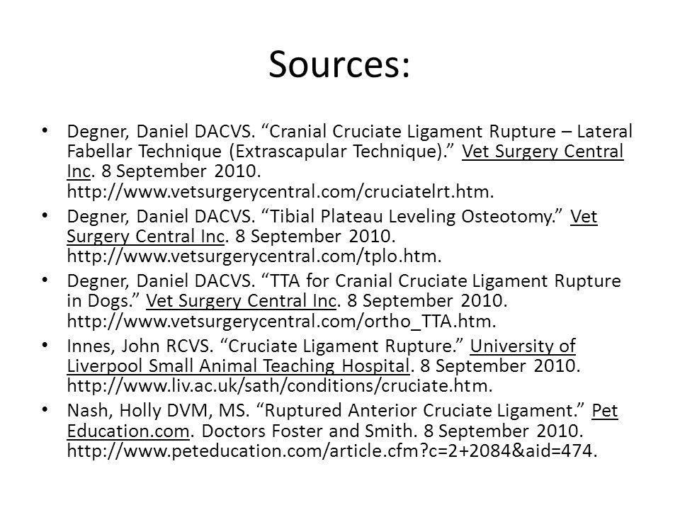 "Sources: Degner, Daniel DACVS. ""Cranial Cruciate Ligament Rupture – Lateral Fabellar Technique (Extrascapular Technique)."" Vet Surgery Central Inc. 8"