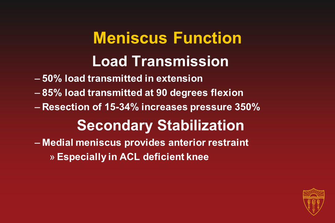 Meniscus Function Load Transmission –50% load transmitted in extension –85% load transmitted at 90 degrees flexion –Resection of 15-34% increases pres