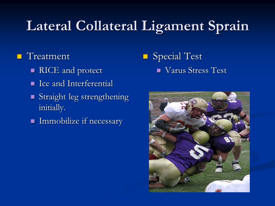 Lateral Collateral Ligament Sprain Treatment Treatment RICE and protect RICE and protect Ice and Interferential Ice and Interferential Straight leg strengthening initially.