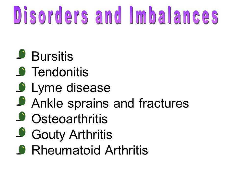 Bursitis Tendonitis Lyme disease Ankle sprains and fractures Osteoarthritis Gouty Arthritis Rheumatoid Arthritis