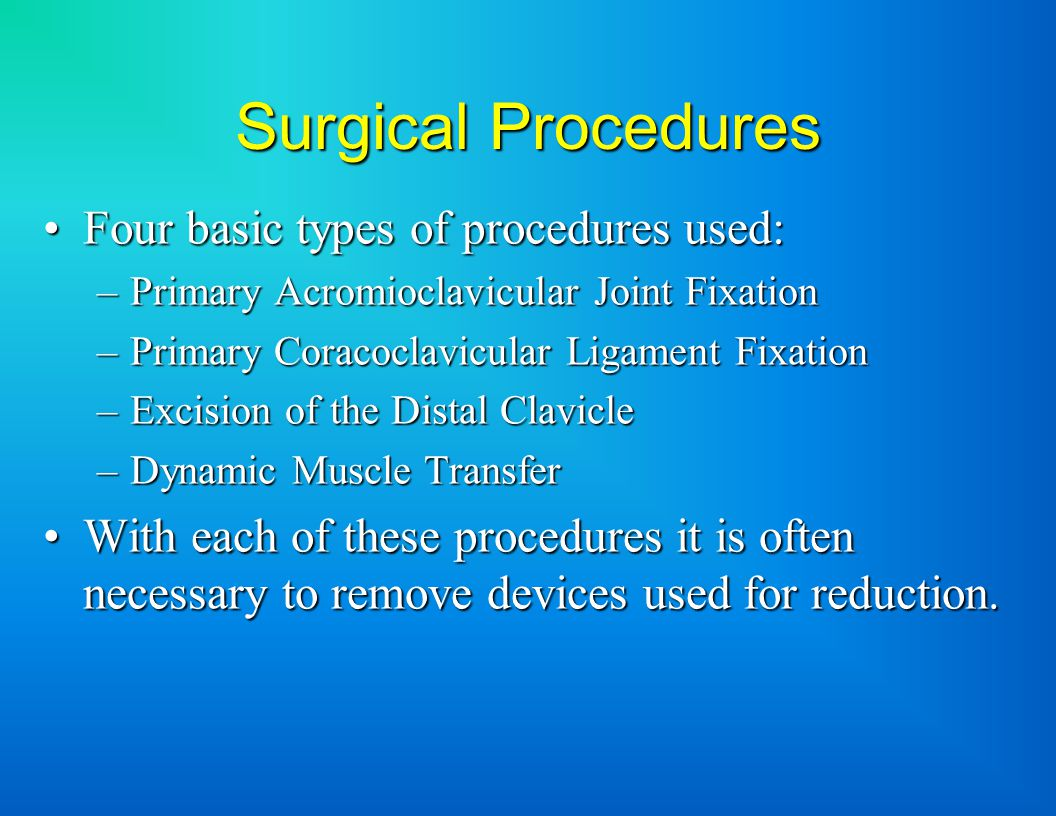 Surgical Procedures Four basic types of procedures used:Four basic types of procedures used: –Primary Acromioclavicular Joint Fixation –Primary Coracoclavicular Ligament Fixation –Excision of the Distal Clavicle –Dynamic Muscle Transfer With each of these procedures it is often necessary to remove devices used for reduction.With each of these procedures it is often necessary to remove devices used for reduction.