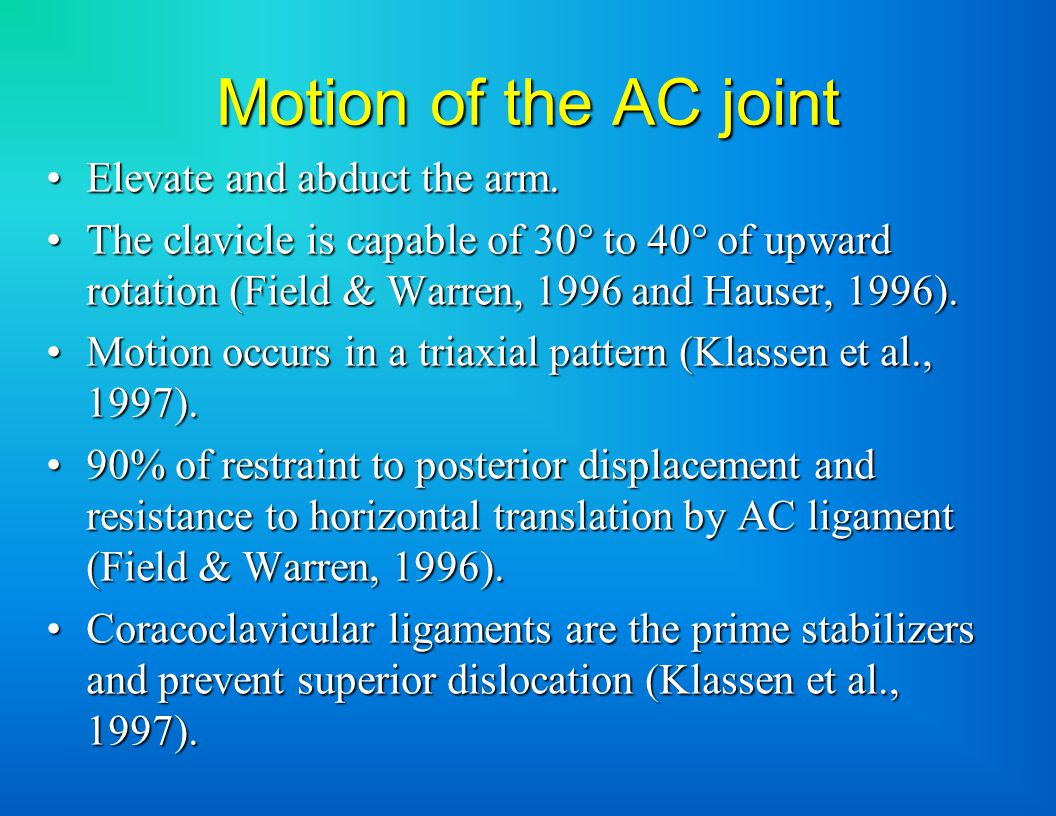 Motion of the AC joint Elevate and abduct the arm.Elevate and abduct the arm.