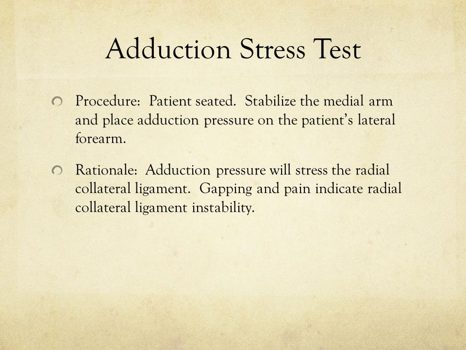 Adduction Stress Test Procedure: Patient seated.