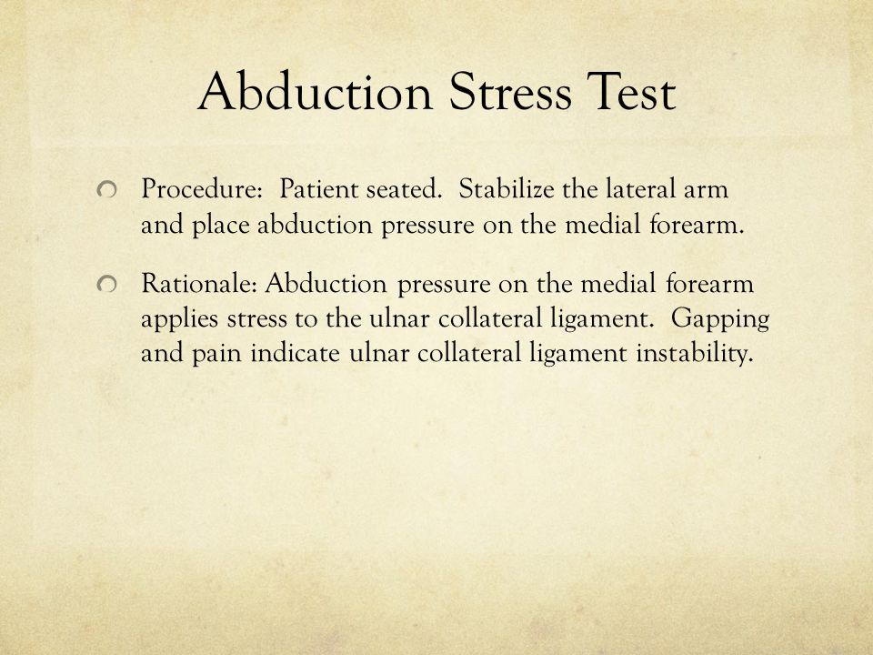 Abduction Stress Test Procedure: Patient seated.