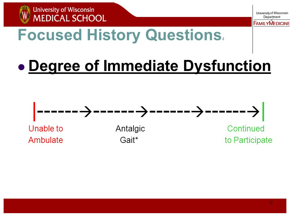 13 Focused History Questions 5 Aggravating Factors Activities, changing positions, stairs, kneeling Relieving Factors/treatments tried Ice, medications, crutches History of previous knee injury or surgery