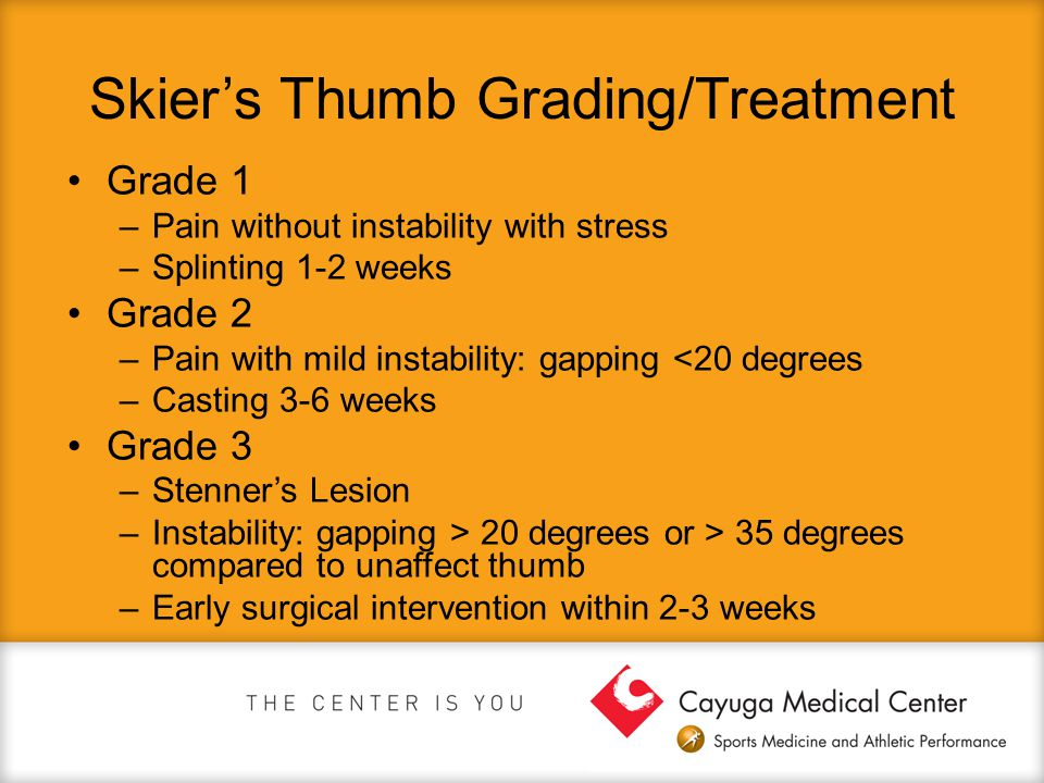 Skier's Thumb Grading/Treatment Grade 1 –Pain without instability with stress –Splinting 1-2 weeks Grade 2 –Pain with mild instability: gapping <20 de