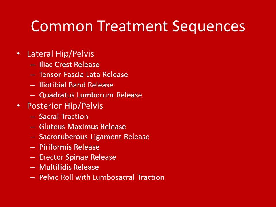 Common Treatment Sequences Lateral Hip/Pelvis – Iliac Crest Release – Tensor Fascia Lata Release – Iliotibial Band Release – Quadratus Lumborum Releas