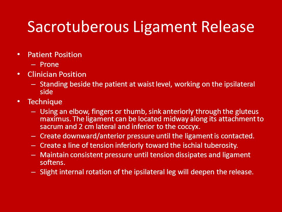 Sacrotuberous Ligament Release Patient Position – Prone Clinician Position – Standing beside the patient at waist level, working on the ipsilateral si
