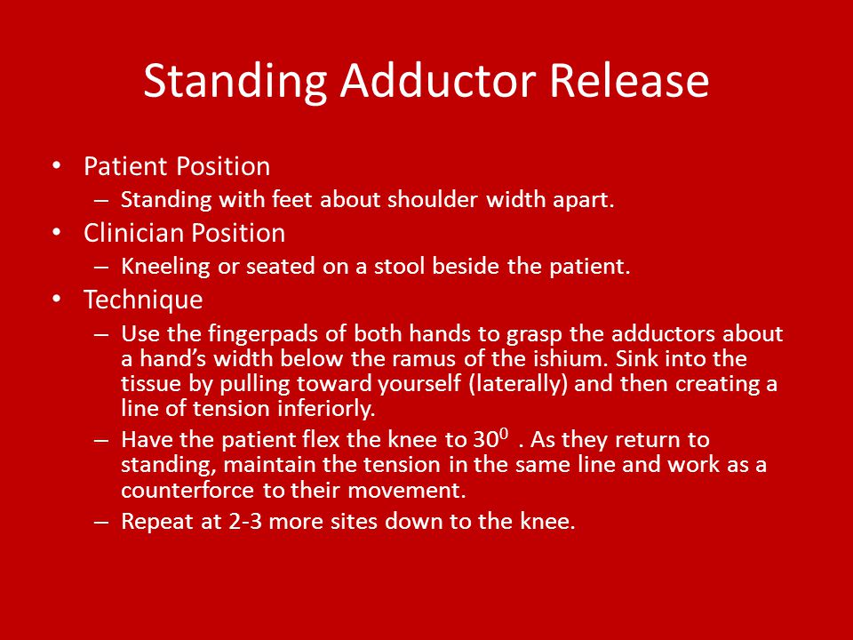 Standing Adductor Release Patient Position – Standing with feet about shoulder width apart. Clinician Position – Kneeling or seated on a stool beside