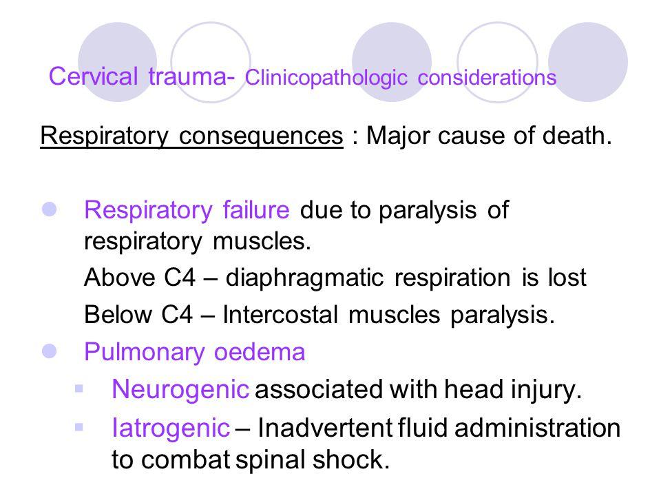 Cervical trauma- Clinicopathologic considerations Respiratory consequences : Major cause of death.