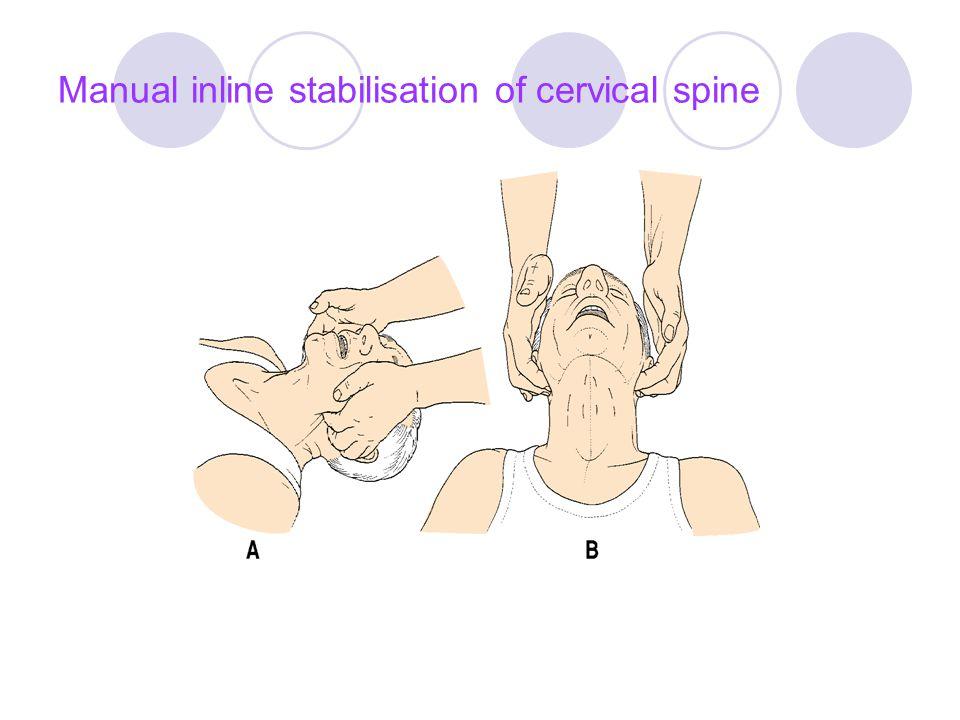 Manual inline stabilisation of cervical spine