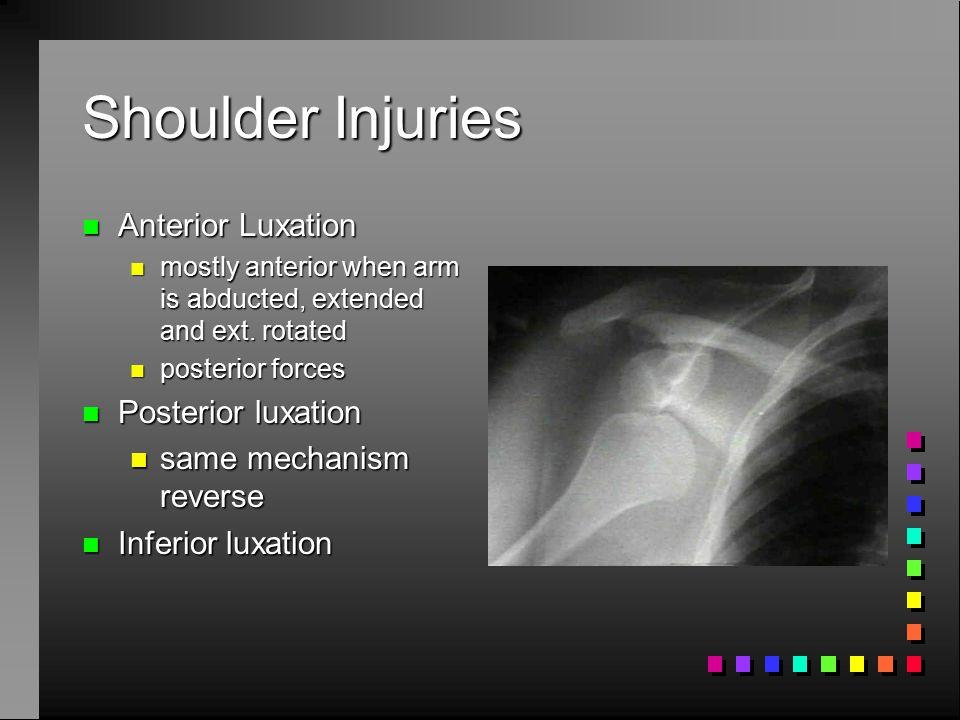 Shoulder Injuries n Shoulder instability n poor joint cavity n poor ligament n musculature n Intracapsular pressure n Concavity compression n scapulohumeral balance