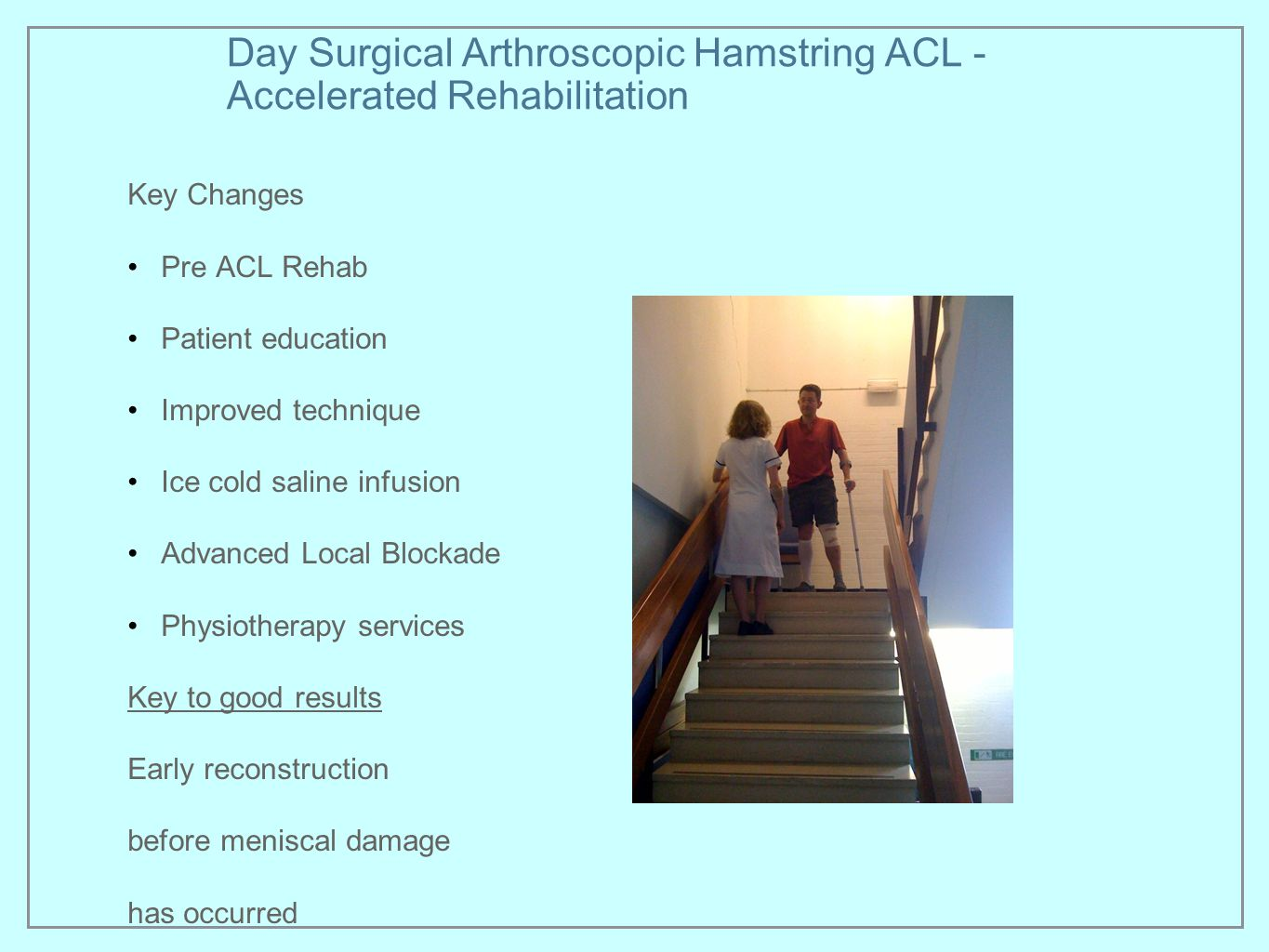Day Surgical Arthroscopic Hamstring ACL - Accelerated Rehabilitation Key Changes Pre ACL Rehab Patient education Improved technique Ice cold saline in
