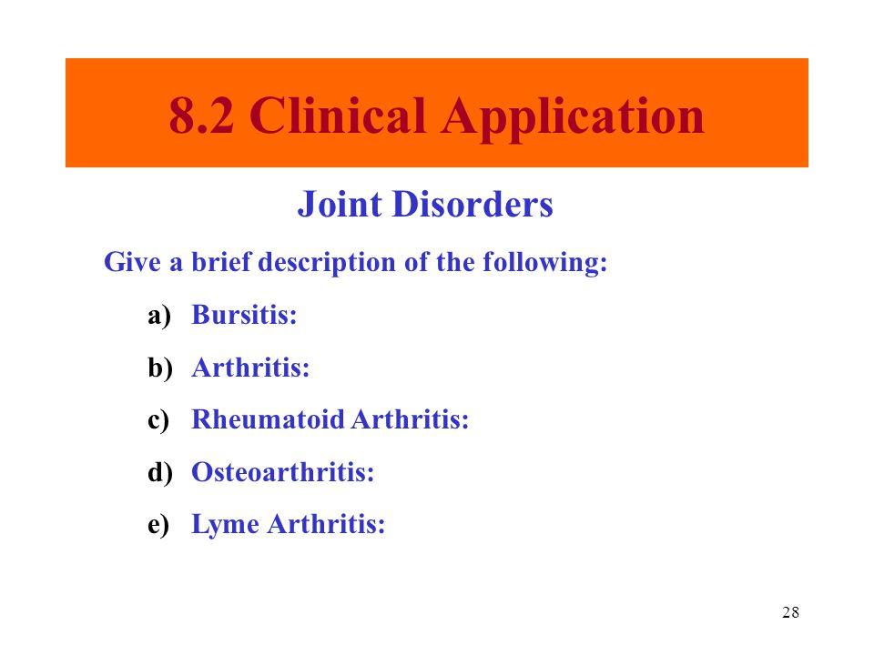 28 8.2 Clinical Application Joint Disorders Give a brief description of the following: a)Bursitis: b)Arthritis: c)Rheumatoid Arthritis: d)Osteoarthritis: e)Lyme Arthritis: