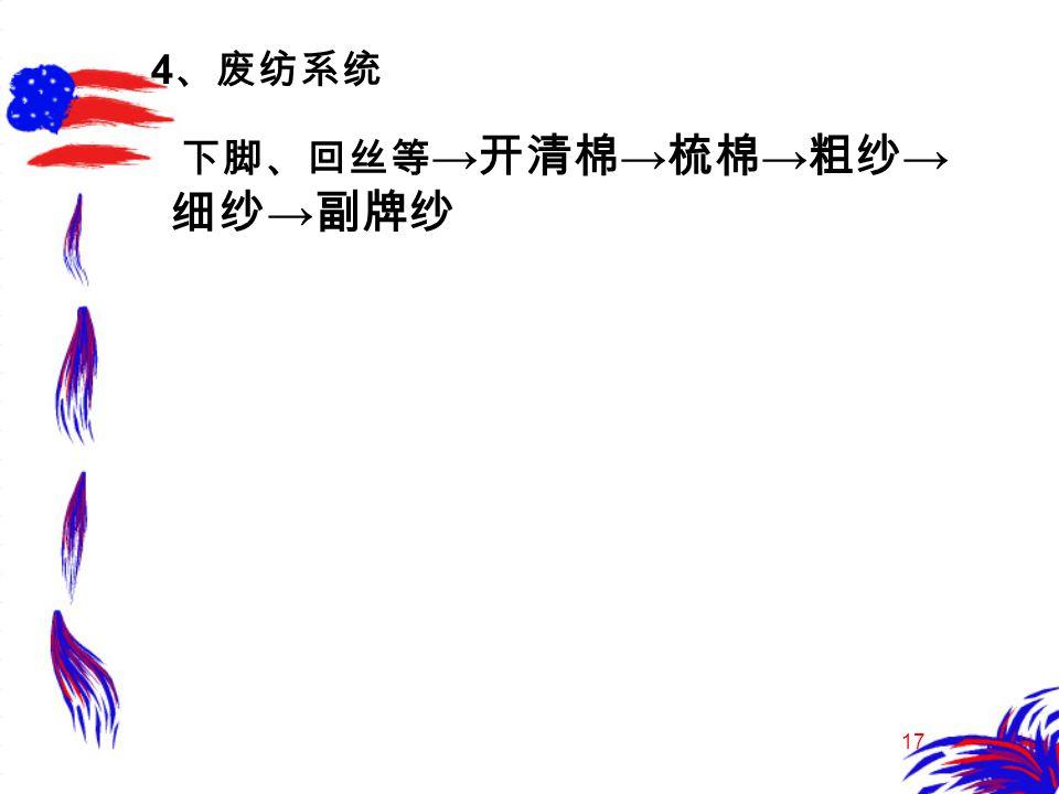17 4 、废纺系统 下脚、回丝等 → 开清棉 → 梳棉 → 粗纱 → 细纱 → 副牌纱