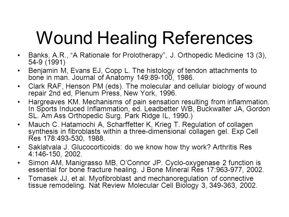 Wound Healing References Banks, A.R., A Rationale for Prolotherapy , J.