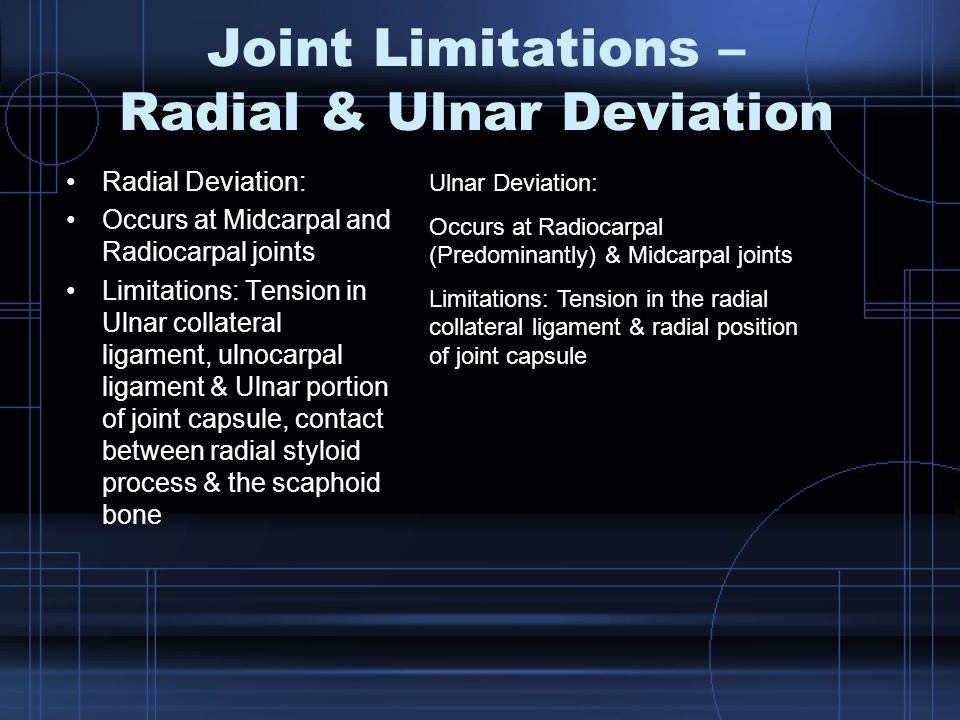 Joint Limitations – Radial & Ulnar Deviation Radial Deviation: Occurs at Midcarpal and Radiocarpal joints Limitations: Tension in Ulnar collateral ligament, ulnocarpal ligament & Ulnar portion of joint capsule, contact between radial styloid process & the scaphoid bone Ulnar Deviation: Occurs at Radiocarpal (Predominantly) & Midcarpal joints Limitations: Tension in the radial collateral ligament & radial position of joint capsule
