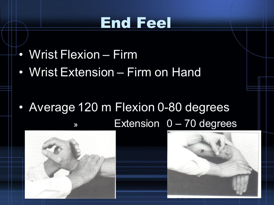 End Feel Wrist Flexion – Firm Wrist Extension – Firm on Hand Average 120 m Flexion 0-80 degrees » Extension 0 – 70 degrees