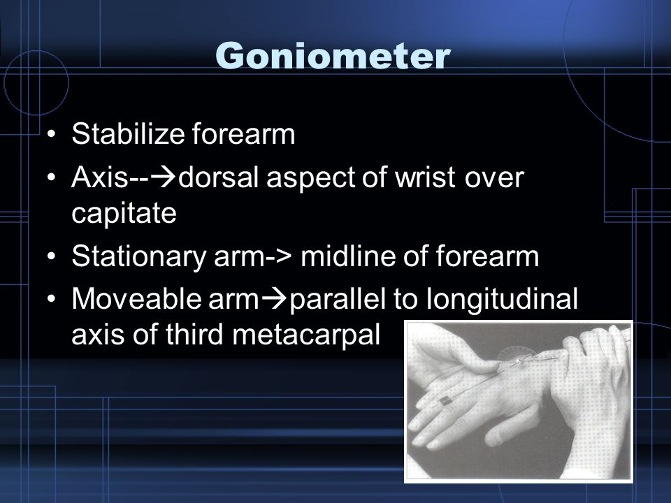 Goniometer Stabilize forearm Axis--  dorsal aspect of wrist over capitate Stationary arm-> midline of forearm Moveable arm  parallel to longitudinal axis of third metacarpal