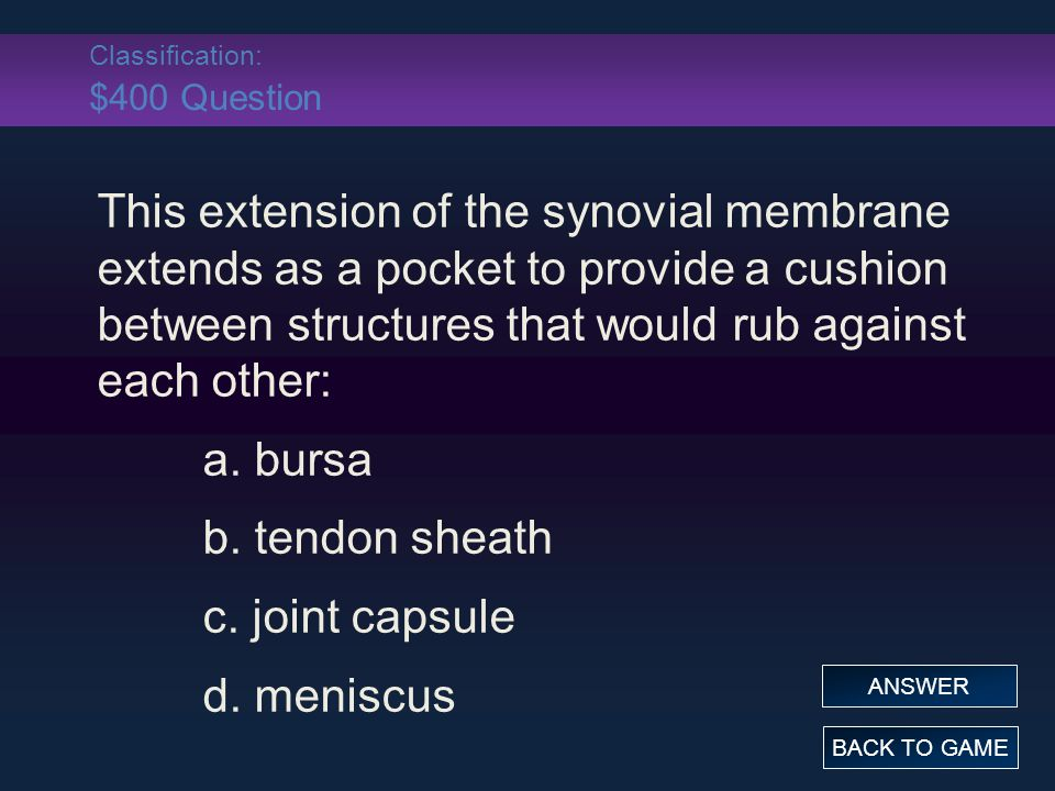 Classification: $400 Question This extension of the synovial membrane extends as a pocket to provide a cushion between structures that would rub against each other: a.
