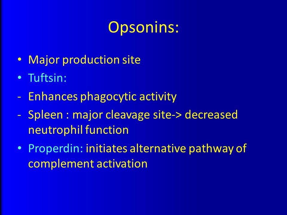 Opsonins: Major production site Tuftsin: -Enhances phagocytic activity -Spleen : major cleavage site-> decreased neutrophil function Properdin: initia