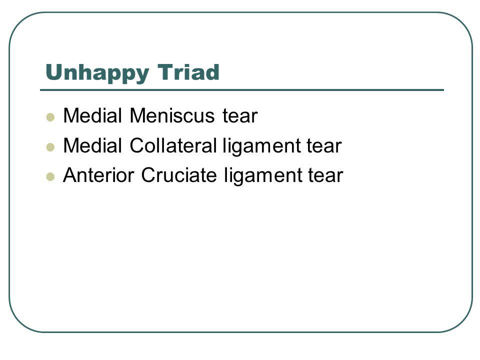 Unhappy Triad Medial Meniscus tear Medial Collateral ligament tear Anterior Cruciate ligament tear