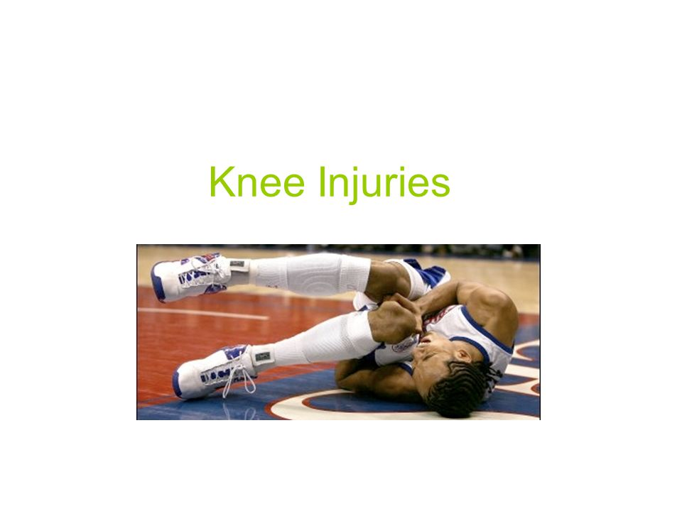 Prevention of Knee Injuries 1.Physical conditioning Muscles surrounding knee joint must be strong and flexible Focus on hamstring, erector spinae, groin, quadriceps, gastrocnemius flexibility 2.Rehabilitation and skill development Strength, balance and technique - sport specific 3.Shoe Type More and shorter cleats