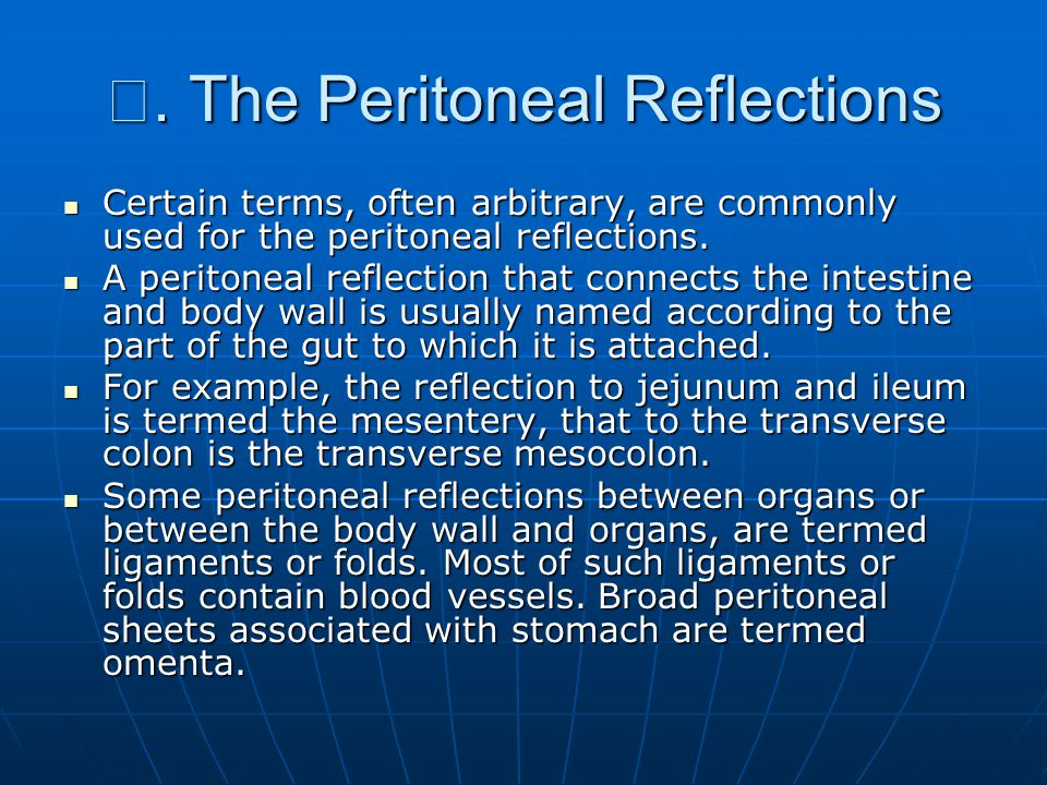 Ⅲ. The Peritoneal Reflections Certain terms, often arbitrary, are commonly used for the peritoneal reflections. Certain terms, often arbitrary, are co