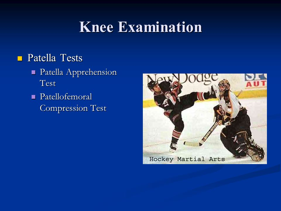 McMurray test for Meniscal injury Test Med and Lat meniscus separately Test Med and Lat meniscus separately 3 concurrent maneuvers: 3 concurrent maneu