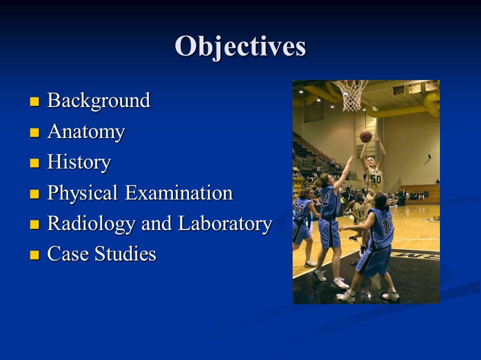 Objectives Background Background Anatomy Anatomy History History Physical Examination Physical Examination Radiology and Laboratory Radiology and Laboratory Case Studies Case Studies