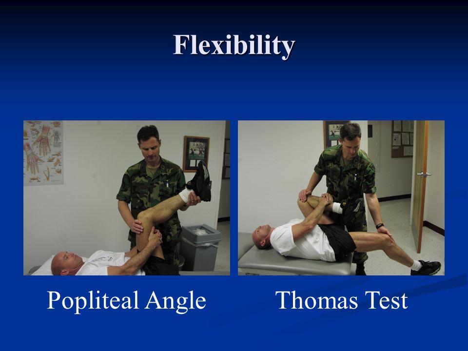 Knee Examination Flexibility Tests Flexibility Tests Popliteal Angle (Hamstring) Popliteal Angle (Hamstring) Thomas Test (Hip flexors and Quads) Thoma