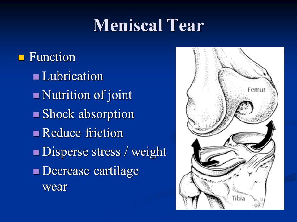 Meniscal Tear Anatomy Avascular inner 2/3, partly vascular outer 1/3 Avascular inner 2/3, partly vascular outer 1/3 Minimal innervation Minimal innerv