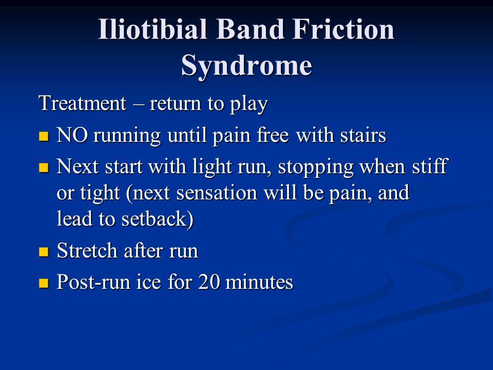 Iliotibial Band Friction Syndrome Treatment STRETCH, STRETCH, STRETCH STRETCH, STRETCH, STRETCH Avoid offending activities Avoid offending activities