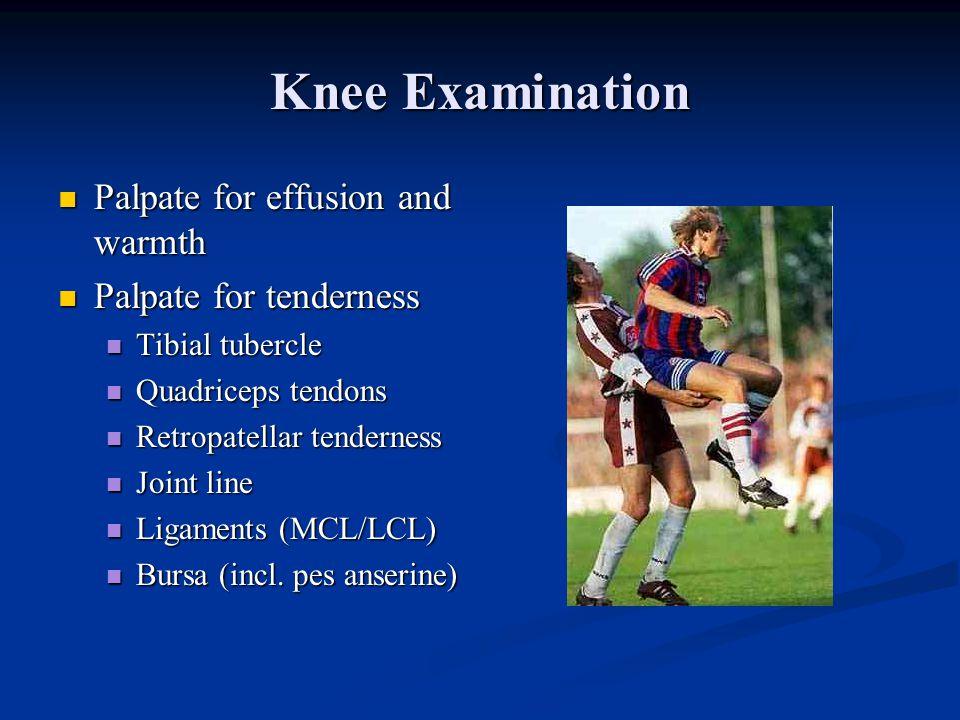 Knee Examination Inspection Inspection Alignment of lower extremities Alignment of lower extremities Varus, valgus, recurvatum Varus, valgus, recurvat