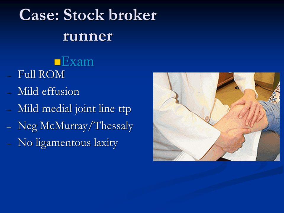 "32 yo male stock broker training for Boston marathon – R knee pain for 9 mos – h/o ""old football injury"" – Swells after playing softball – No locking"